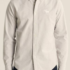 Brand new A&F men's Exploded Icon Oxford off-white